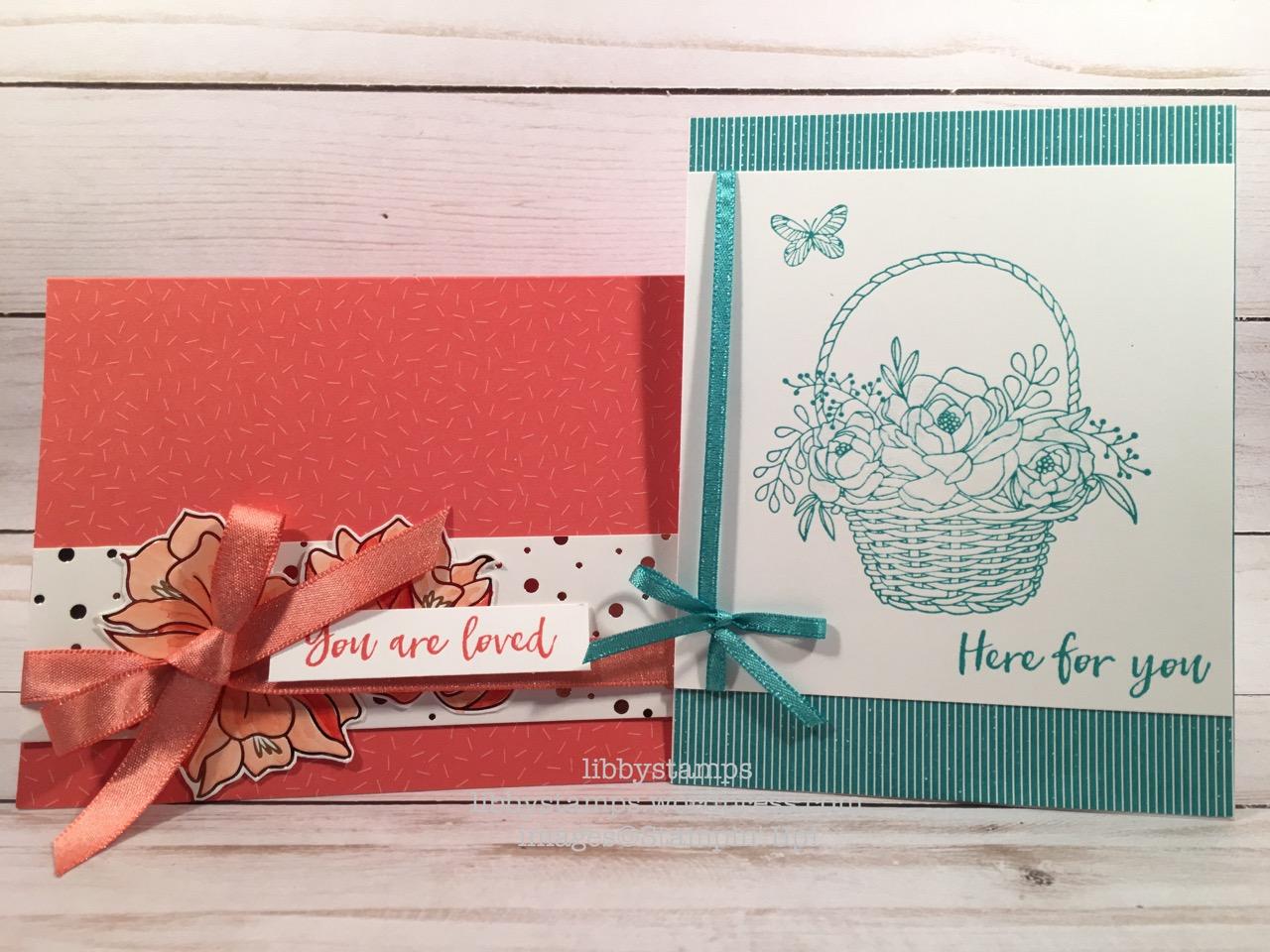 libbystamps, stampin up, Bubbles & Fizz, Blossom Basket, 3/8 Shimmer Ribbon, SAB, Sale-a-bration, BFBH, Springtime FoilsDSP, Tutii-Frutti Cards & Envelopes