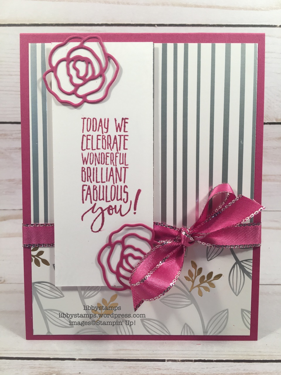 libbystamps, stampin up, Picture Perfect Birthday, Sweet CakeFramelits, Berry Burst 3/8 Metallic Edge Ribbon, TSOT, Sale-a-bration
