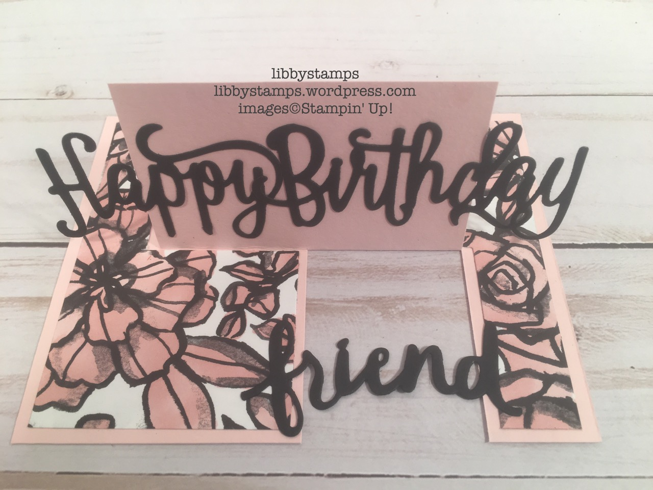 libbystamps, stampin up, Happy Birthday Thinlits, Lovely Words Thinlits, Optical Illusion card, BFBH