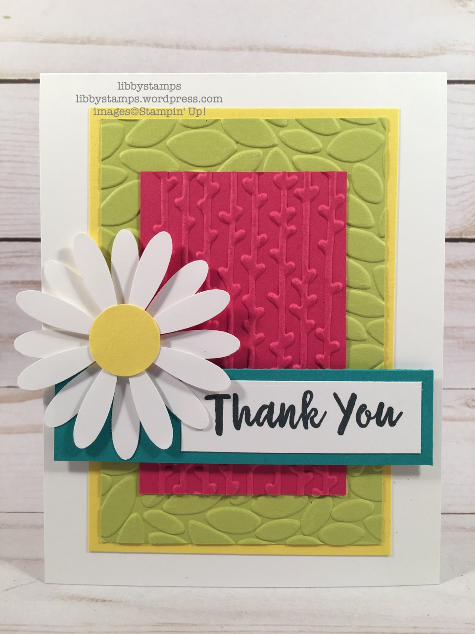 libbystamps, stampin up, Abstract Impressions, Petal Burst EF, Daisy Punch, Petal Pair Embossing Folder, Petal Burst Embossing Folder, CCMC