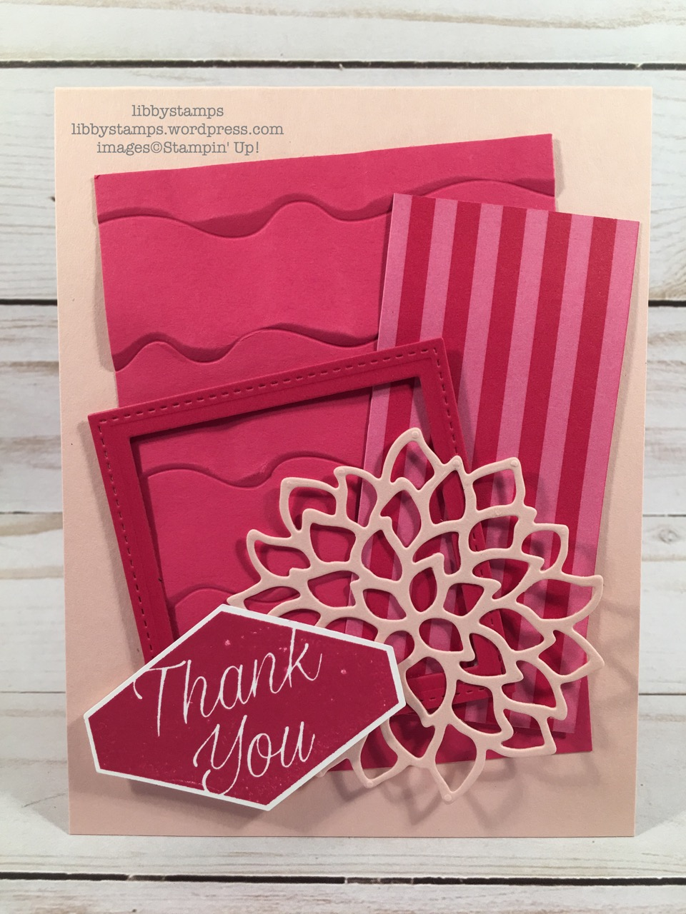 libbystamps, stampin up, Accented Blooms, May Flowers Framelits May Flowers, Stitched Shapes Framelits, Layering Squares Framelits, Ruffled Dynamic EF, In-Color 2018-2020 6x6 DSP, CCMC