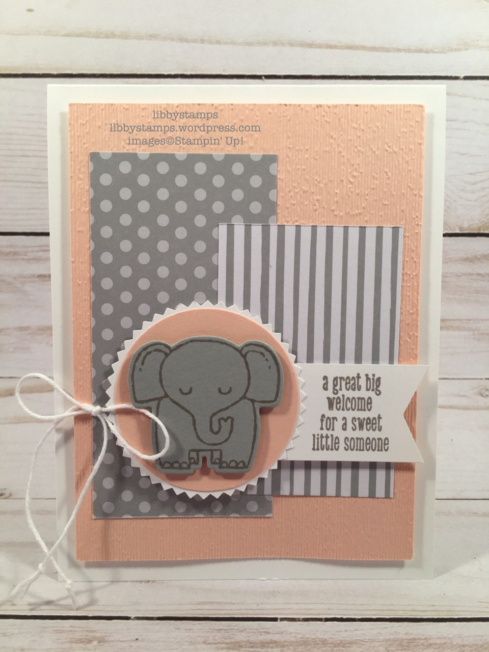 """libbystamps, stampin up, A little Wild, Little Loves Framelits, 6x6 Neutral DSP Stack, Starburst Punch, 2"""" Circle Punch, Tailored Tag Punch, Subtle EF, CCMC, baby card, elephant"""