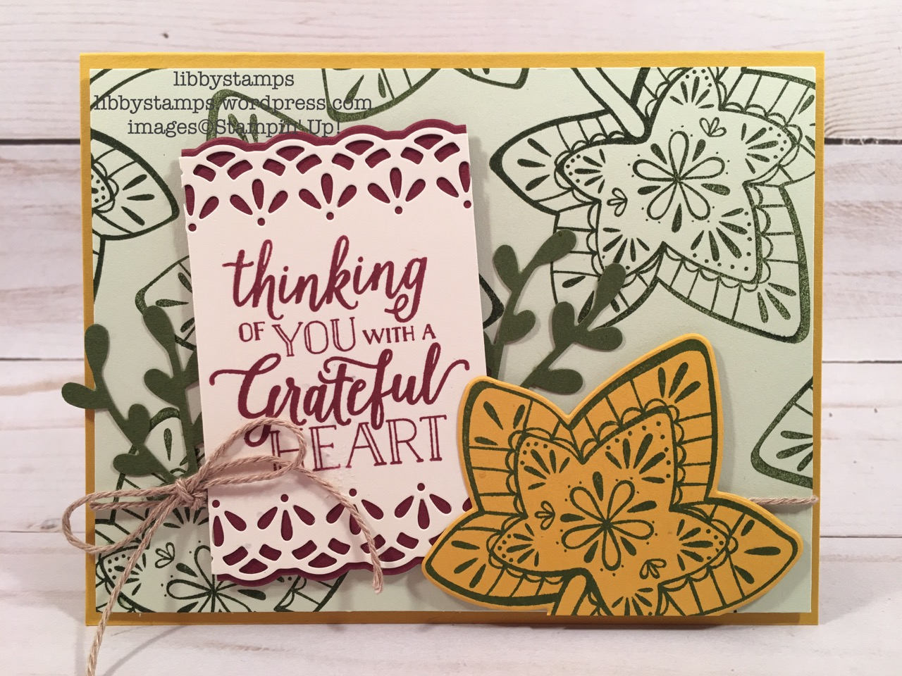 libbystamps, Stampin' Up!, Falling for Leaves, Detailed Leaves Thinlits, Falling for Leaves Bundle, Twig Punch, Nature's Twine, BFBH