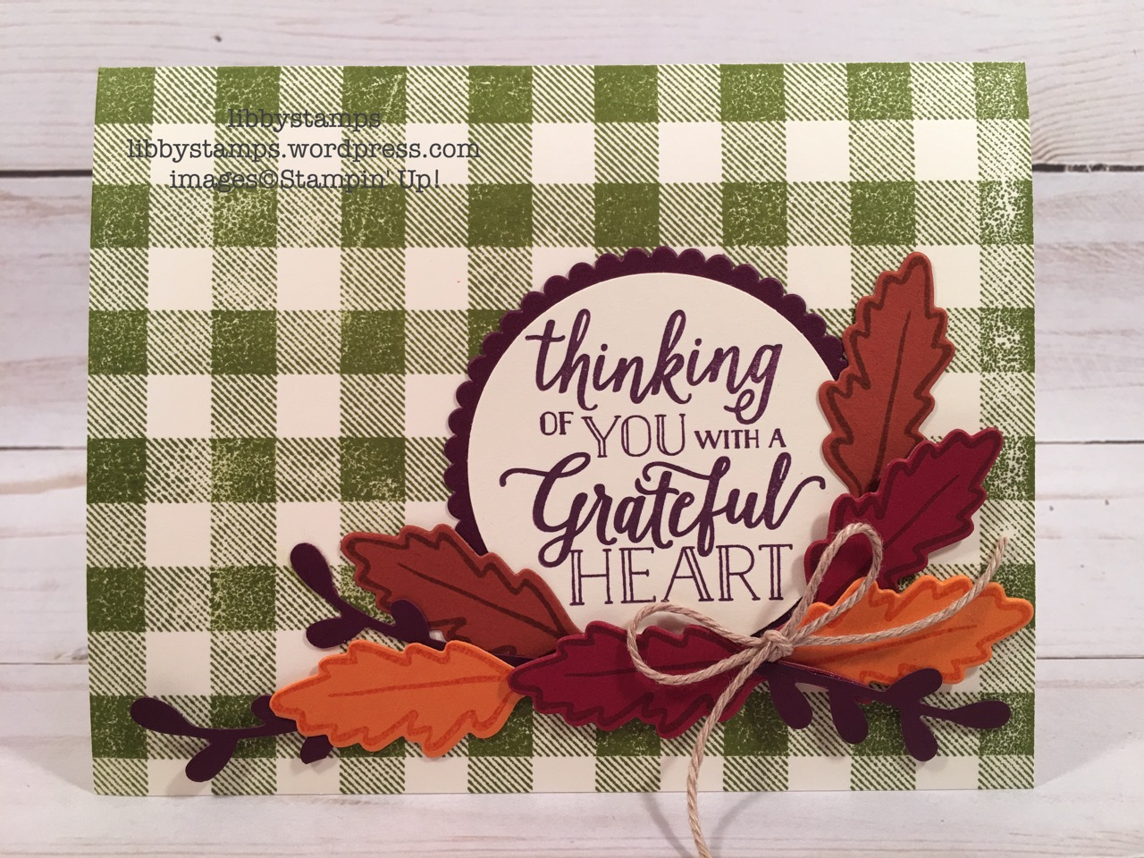 libbystamps, Stampin' Up!, Buffalo Check, Falling for Leaves, Detailed Leaves, Falling for Leaves Bundle, Sprig Punch, Nature's Twine, CCMC