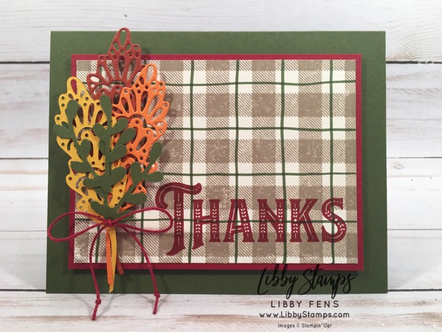 libbystamps, Stampin' Up!, Buffalo Check, Warm Hearted, Detailed Leaves Thinlits, Sprig Punch, CCMC