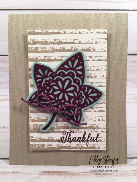 libbystamps, Stampin' Up!, Falling for Leaves, Falling for Leaves Bundle, Detailed Leaves Thinlits, Nature's Twine, Subtle EF, CCMC