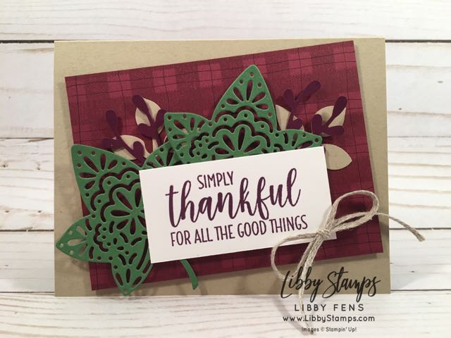 "libbystamps, Stampin' Up!, Country Home, Buffalo Check, Detailed Leaves Thinlits, Leaf Punch, Sprig Punch, 3/16"" Braided Linen Trim, CCMC"