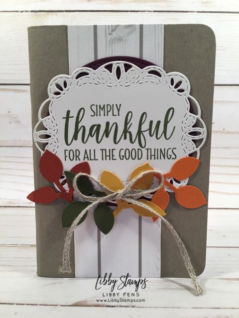 libbystamps, Stampin' Up!, Country Home, Leaf Punch, 1 3/8 Braided Linen Trim, Stitched Labels Framelits, Gratitude Journal, We Create
