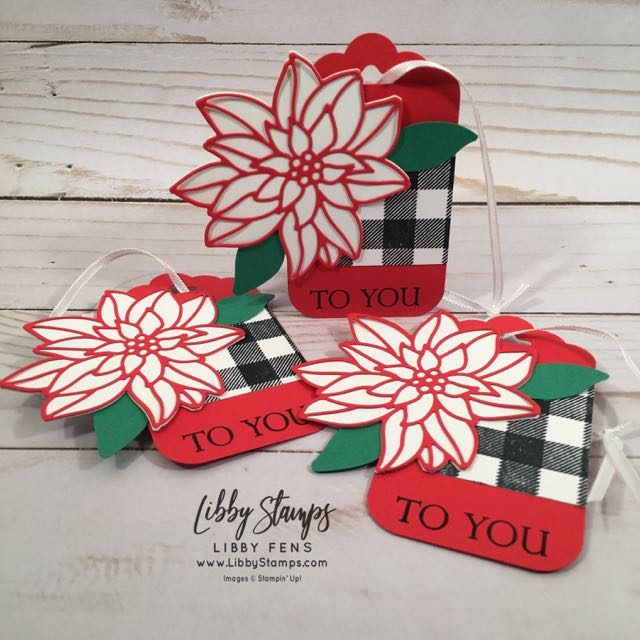 "libbystamps, Stampin' Up!, Buffalo Check, Merry Christmas to All, Detailed Poinsettia Thinlits, Whisper White 1/8"" Sheer Ribbon, CCMC"