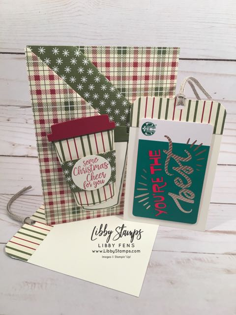 "libbystamps, Stampin' Up!, Takeout Treats, Coffee Cafe, Coffee Cups Framelits, Festive Farmhouse DSP, Detailed Trio Punch, 3/16"" Braided Linen Trim, gift card holder"