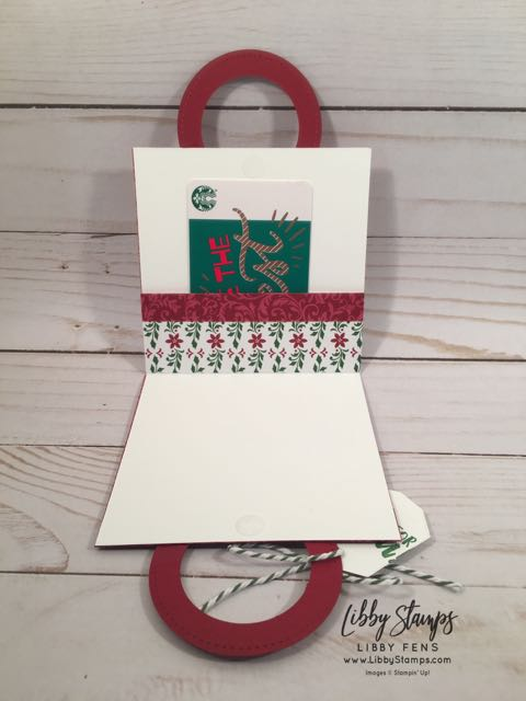 libbystamps, Stampin' Up!, Takeout Treats, Takeout Thinlits, Takeout Treats Bundle, Dashing Along DSP, Garden Green Baker's Twine, gift card holder