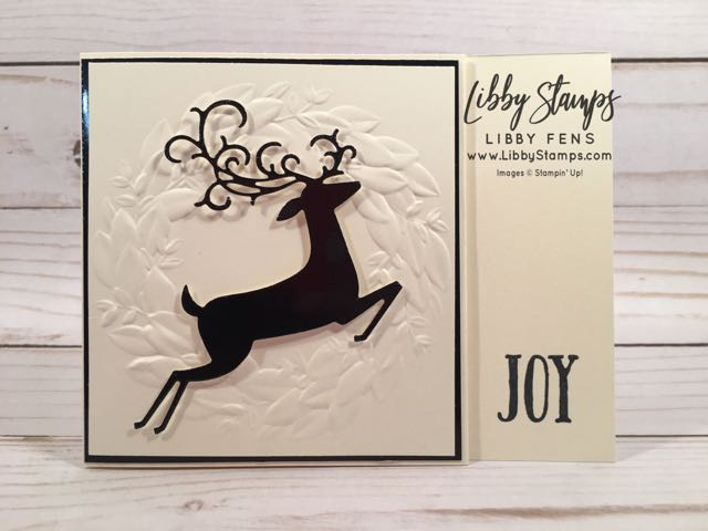libbystamps, Stampin' Up!, Feathers & Frost, Detailed Deer Thinlits, Seasonal Wreath Embossing Folder, gift card holder