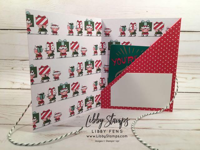 libbystamps, Stampin' Up!, Signs of Santa, Layering Ovals Framelits, Santa's Workshop Specialty DSP, Garden Green Baker's Twine, gift card holder
