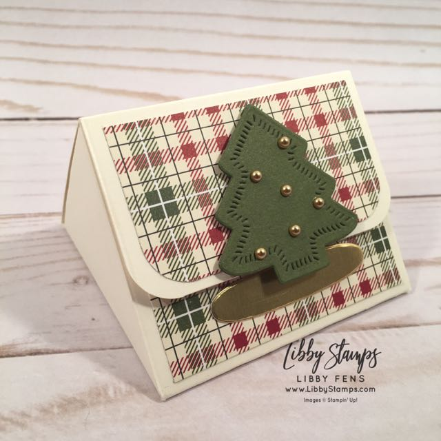libbystamps, Stampin' Up!, Triangle Treat Box, Sweetly Stitched Framelits, Festive Farmhouse DSP, Metallic Pearls, Christmas treat, CCMC