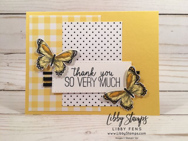 libbystamps, Stampin' Up!, Butterfly Gala, Rectangle Stitched Framelits, Butterfly Gala Bundle, Gingham Gala DSP, Botanical Butterfly DSP, Butterfly Duet Punch, CCMC