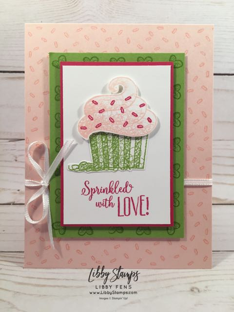 libbystamps, Stampin' Up!, Hello Cupcake, Whisper White 1/8 Sheer Ribbon, BFBH, Sale-a-bration 2019