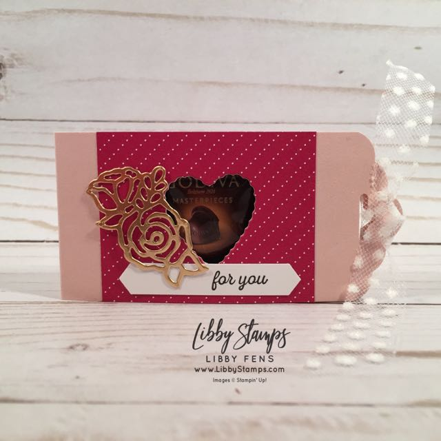 libbystamps, Stampin' Up!, Itty Bitty Greetings, Be Mine Stitched Framelits, All My Love DSP, Scallop Tag Topper Punch, Classic Label, Polka Dot Tulle, CCMC, Godiva