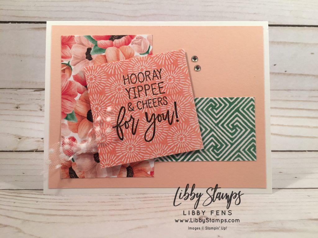 libbystamps, Stampin' Up!, Birthday Cheer, Painted Seasons DSP, Whisper White 5/8 Polka Dot Tulle ribbon, Tuesday Morning Sketches