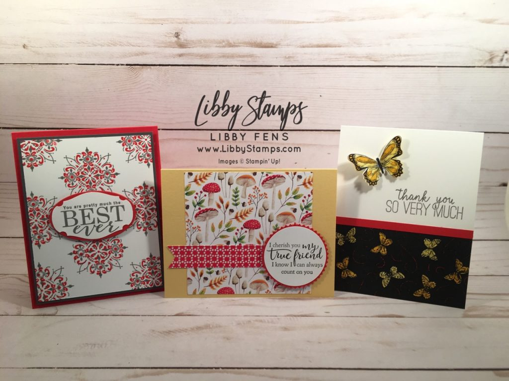 "libbystamps, Stampin' Up!, All Adorned, Layering Ovals, Story Label Punch, Strong & Beautiful, Painted Seasons DSP, 2"" Circle Punch, Starburst Punch, Banner Triple Punch, Butterfly Gala, Butterfly Duet Punch, Butterfly Gala Bundle, Botanical Butterfly DSP"