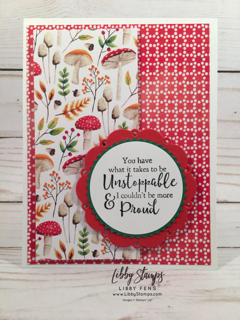 libbystamps, Stampin' Up!, Strong & Beautiful, Spot of Tea Framelits, Painted Seasons DSP, Starburst Punch