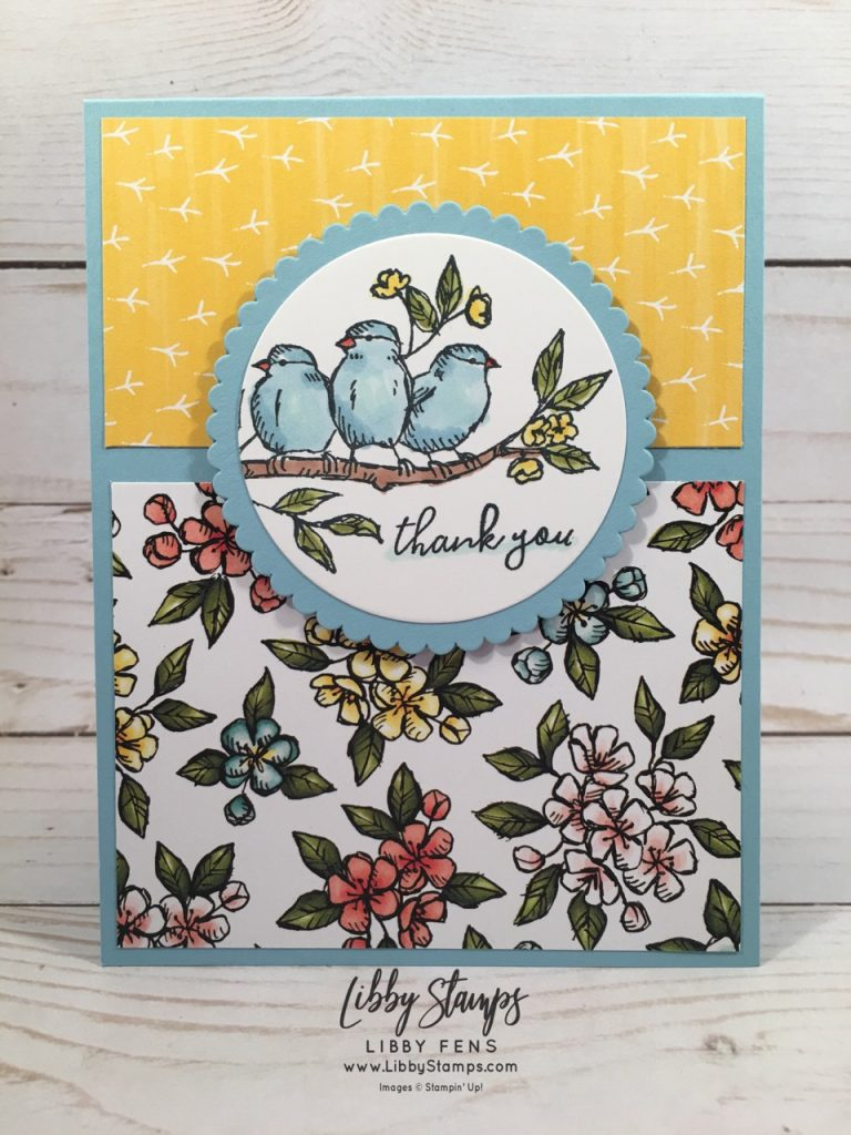 libbystamps, Stampin' Up!, Free as a Bird, Layering Circles Framelits, Bird Ballard Suite, Bird Ballard DSP, TSOT