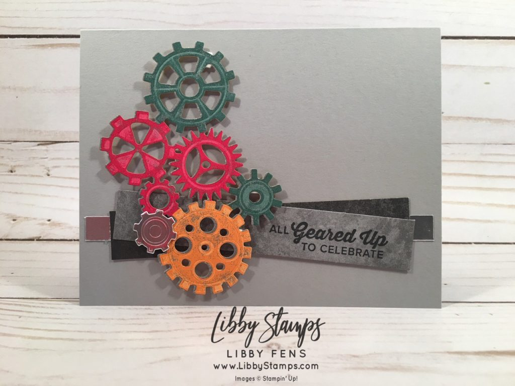 libbystamps, Stampin' Up!, Geared Up Garage, Geared Up Garage Bundle, Garage Gears Thinlits, Classic Garage Suite, Classic Garage 6x6 DSP, CCMC