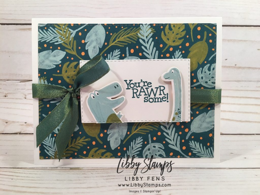 libbystamps, Stampin' Up!, Dino Days, Dino Dies, Stitched Rectangles Dies, Dino Days Bundle, Dinoroar DSP, Old Olive / Pretty Peacock 3/8 Reversible Ribbon, CCMC