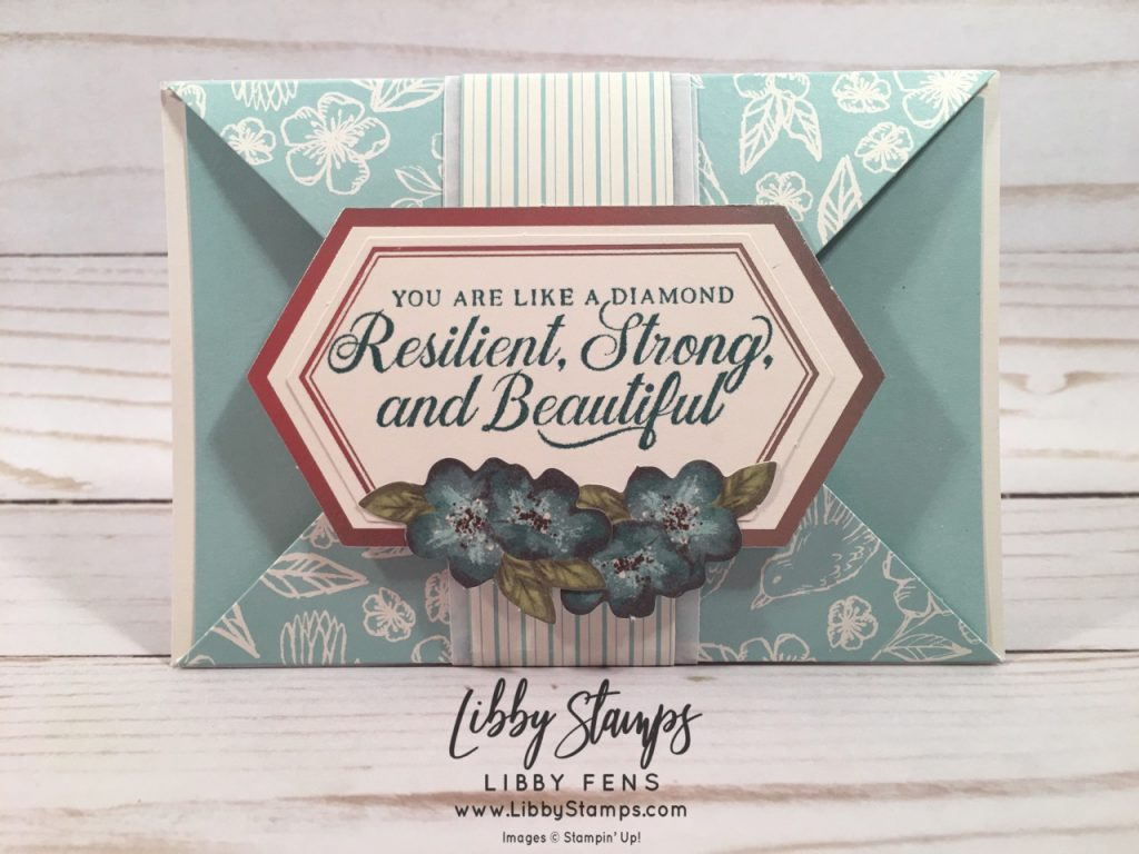 libbystamps, Stampin' Up, Strong & Beautiful, May 2019 Paper Pumpkin Kit So Shelli, Stamparatus, Triangle Gate Fold, Fun Fold, Paper Pumpkin