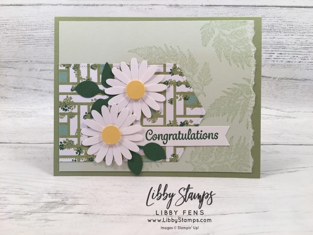 libbystamps, Stampin' Up!, Here's a Card, Daisy Lane, Stitched Nested Labels Dies, Garden Lane DSP, Medium Daisy Punch, Leaf Punch, CCMC