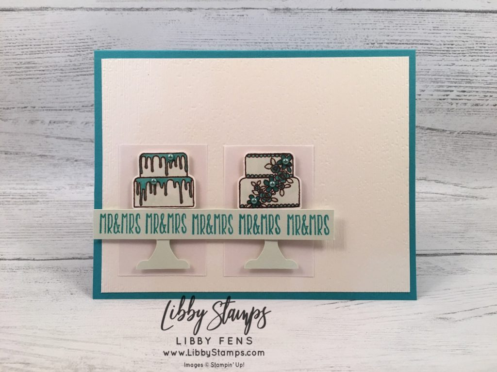 libbystamps, Stampin' Up!, Piece of Cake, Subtle EF, Cake Builder Punch, Soft Sea Foam Blends, Bermuda Bay Blends, CAS Colours & Sketches #331