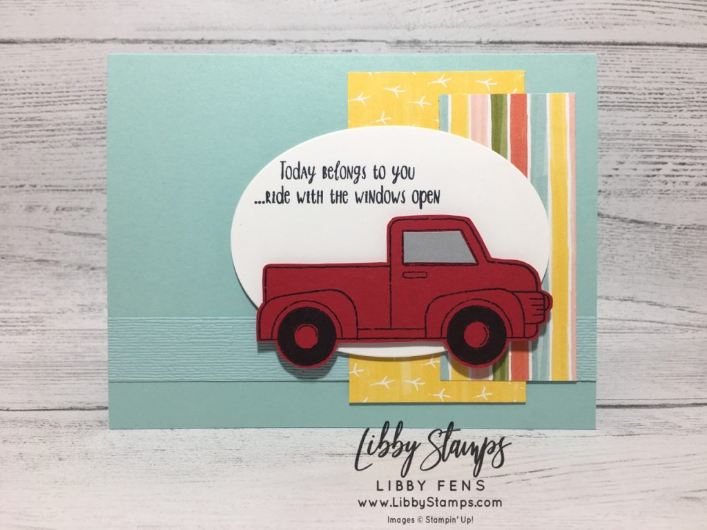 libbystamps, Stampin' Up!, Ride with Me, Subtle EF, Ride with Me Bundle, Bird Ballard DSP, FMS