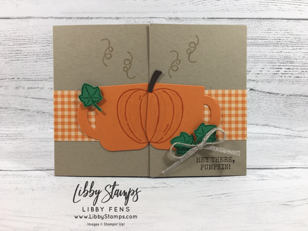 """libbystamps, Stampin' Up!, Harvest Hellos, Cup of Cheer Dies, 2019-2021 6x6 In Color DSP, 3/16"""" Braided Linen Trim, CCMC"""