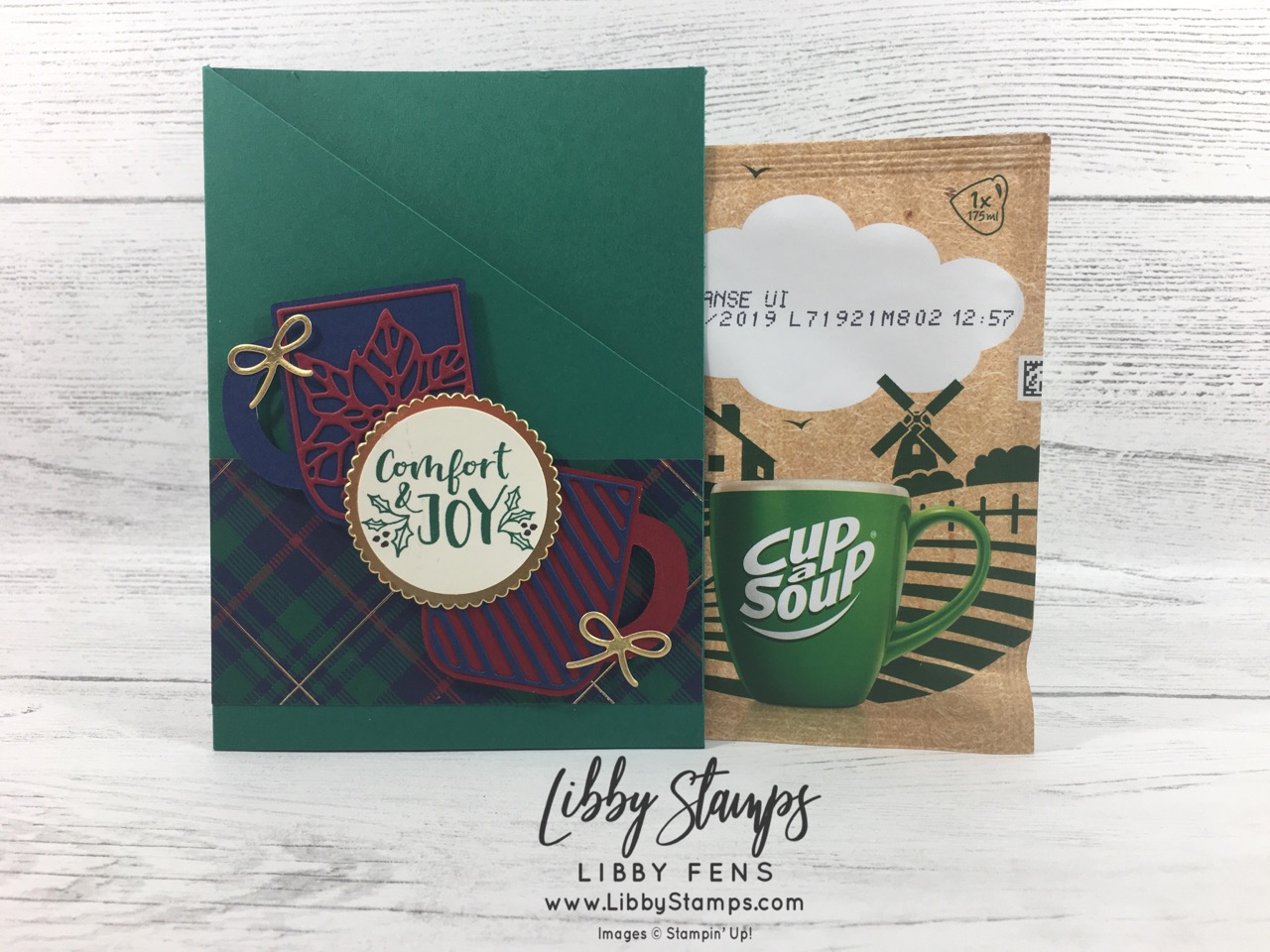 libbystamps, Stampin' Up!, Cup of Christmas, Cup of Cheer Dies, Cup of Christmas Bundle, Wrapped in Plaid DSP, Layering Circles Dies, TSOT