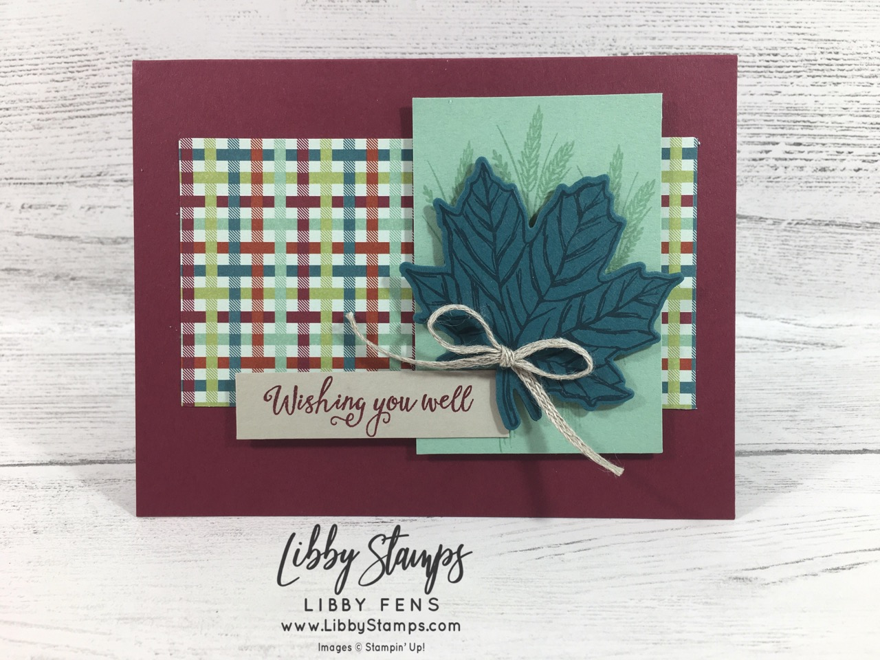 "libbystamps, Stampin' Up!, Gather Together, Gathered Leaves Dies, Gather Together Bundle, Come to Gather Suite, Come to Gather DSP, 3/16"" Braided Linen Trim, CCMC, Fall Card"