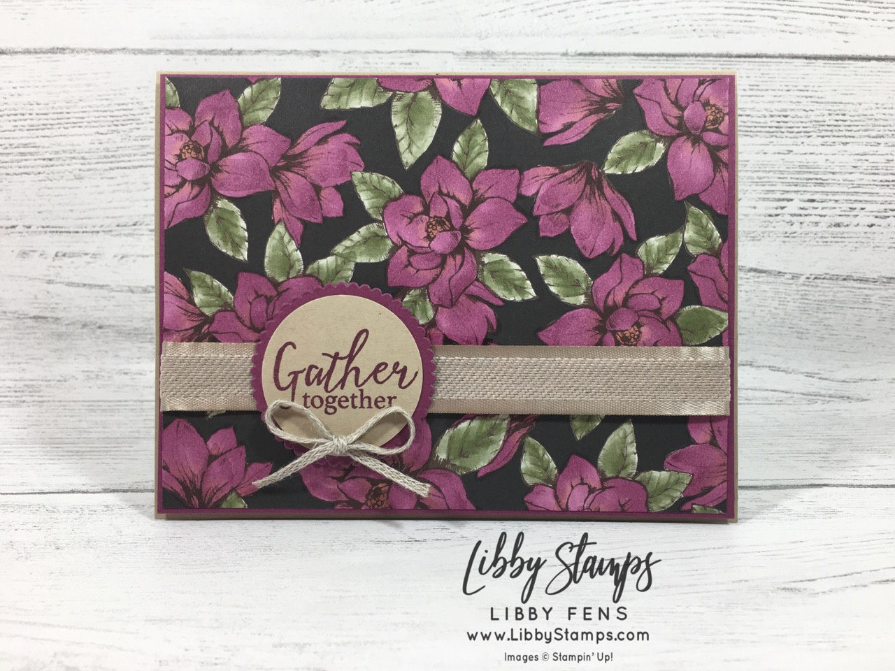 "libbystamps, Stampin' Up!, 3/16"" Braided Linen Trim, Come to Gather Ribbon, Story Label Punch, Magnolia Lane DSP, Tags Tags Tags, Tags Tags Tags Bundle, Trio of Tags Dies, Layering Circles Dies, Gather Together, CCMC"