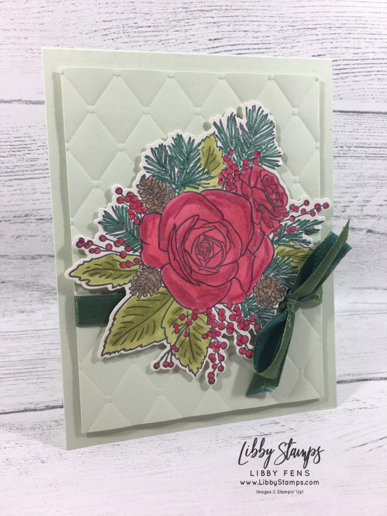 "libbystamps, Stampin' Up!, Christmas Rose, Christmas Rose Bundle, Rose Dies, Tufted 3d EF, Old Olive/Pretty Peacock 3/8"" Reversible Ribbon, SUOC #234"