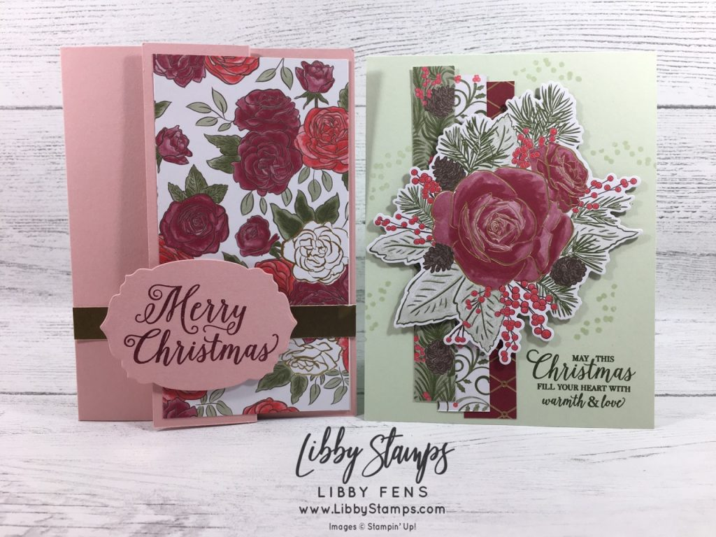 libbystamps, Stampin' Up!, Christmas Rose, Rose Dies, Christmas Rose Bundle, Christmastime is Here Suite Bundle, Christmastime is Here DSP, BFBH