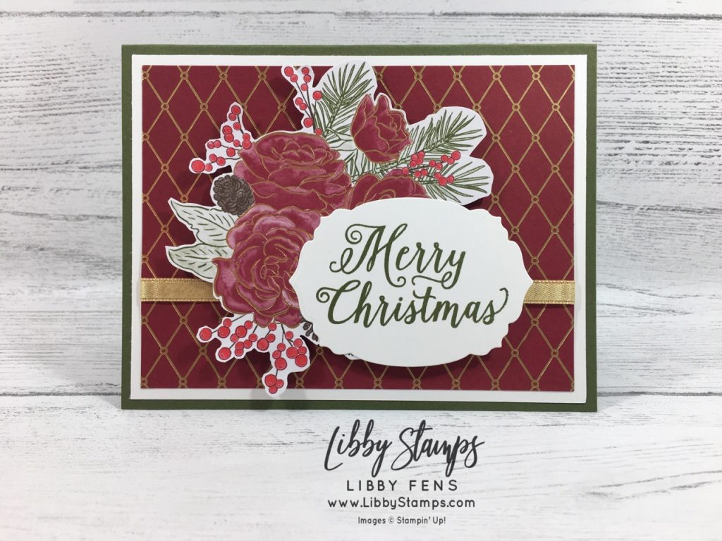 "libbystamps, Stampin' Up!, Christmas Rose, Rose Dies, Christmas Rose Bundle, Christmastime is Here Suite Bundle, Christmastime is Here DSP, Gold 1/4"" Shimmer Ribbon, CCMC"