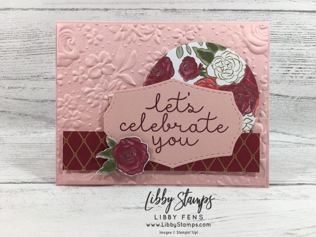 libbystamps, Stampin' Up!, Bloom & Grow, Wild Rose Dies, Country Floral EF, Christmastime is Here DSP, CCMC