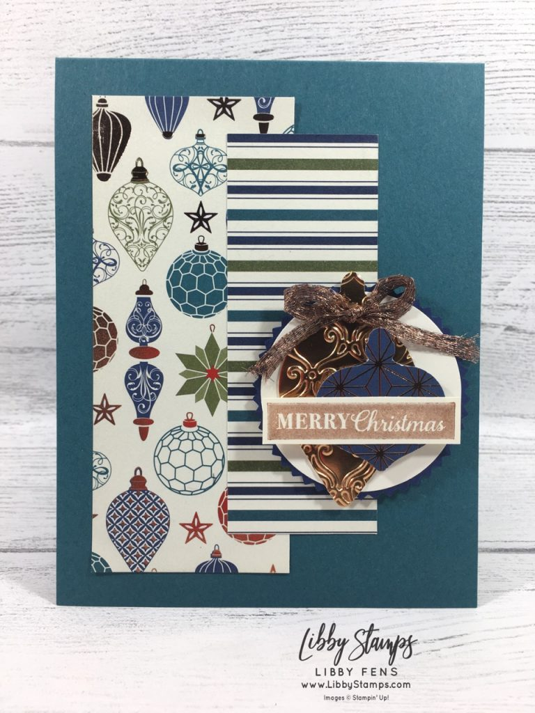 """libbystamps, Stampin' Up!, Christmas Gleaming, Stylish Scroll EF, Christmas Gleaming Bundle, Brightly Gleaming Suite, Celestial Copper Delicata Ink, Brightly Gleaming DSP, Gleaming Ornaments Punches, 1/4"""" Copper Trim, CCMC"""