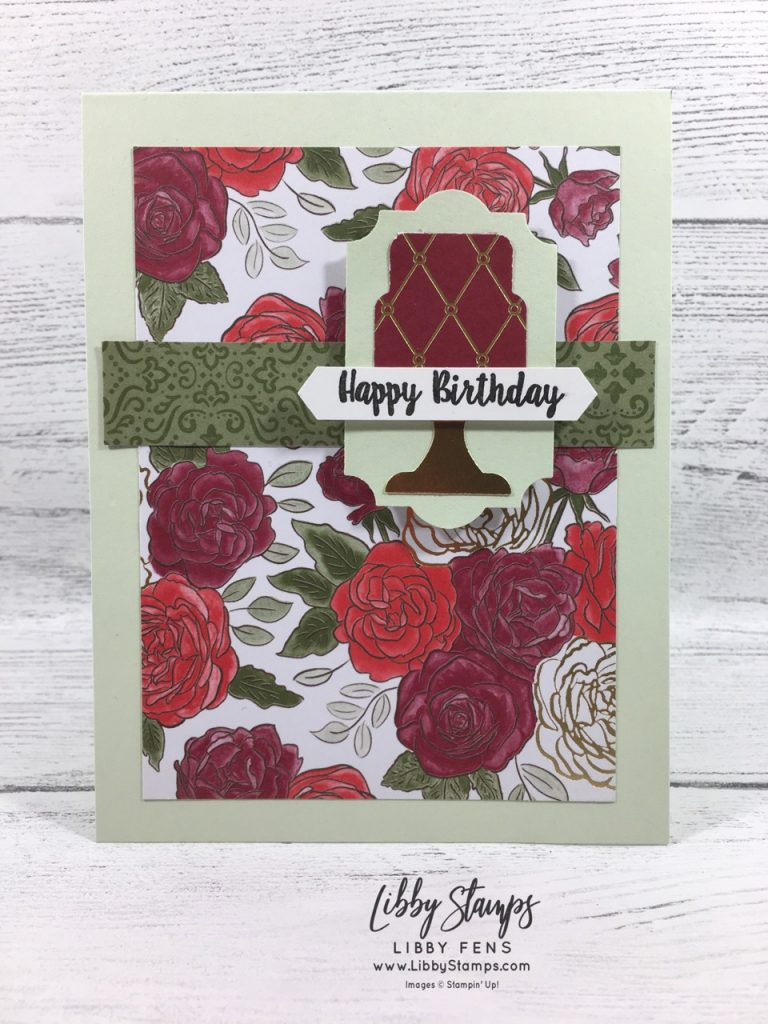 libbystamps, Stampin' Up!, Piece of Cake, Christmastime is Here DSP, Cake Builder Punch, Everyday Label Punch, FMS411
