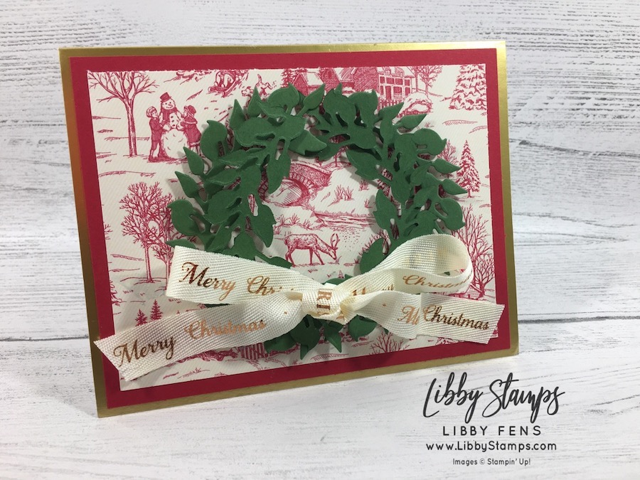 """libbystamps, Stampin' Up, All-Around Wreath Dies, Gold Foil Edged Cards & Envelopes, Toile Tidings DSP, Very Vanilla / Copper 1/2"""" Classic Weave Ribbon, CCMC"""