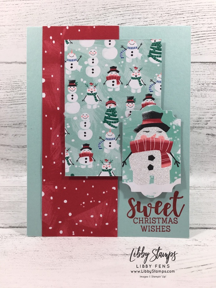libbystamps, Stampin' Up!, Cup of Christmas, Let It Snow DSP, Everyday Label Punch, TSOT