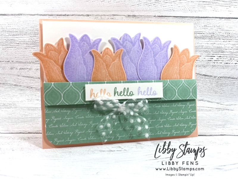 "libbystamps, Stampin' Up!, Timeless Tulips, Timeless Tulips Bundle, Tulip Builder Punch, Detailed Trio Punch, Whisper White 5/8"" Polka Dot Tulle Ribbon, Subtles 6 x 6 DSP, CCMC"