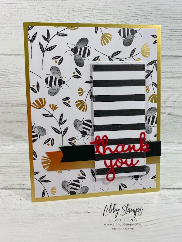libbystamps, Stampin' Up!, Well Written Dies, Stitched Rectangle Dies, Golden Honey DSP, Gold Foil Edged Cards & Envelopes, TSOT