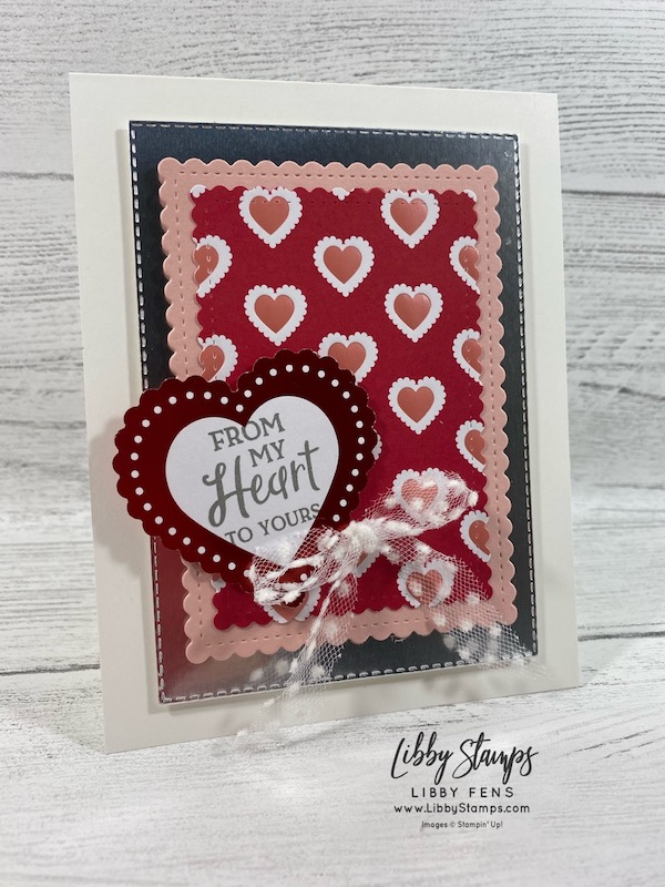 libbystamps, Stampin' Up!, Heartfelt, Stitched So Sweetly Dies, Stitched Rectangle Dies, From My Heart DSP, Heart Punch Pack, Whisper White 5/8 Polka Dot Tulle ribbon, The Joy of Sets, #JOSTTT013