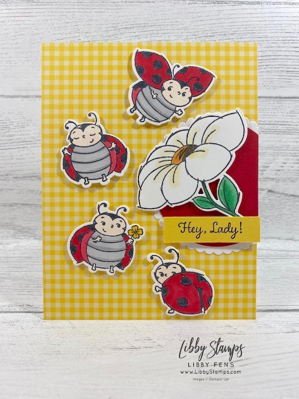 "libbystamps, Stampin' Up!, Little Ladybug, Ladybugs Dies, Brights 6 x 6 DSP, Starburst Punch, 2 1/4"" Circle, Kre8tors Blog Hop"