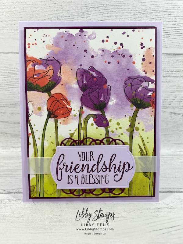 libbystamps, Stampin' Up!, So Sentimental, Painted Labels Dies, Peaceful Poppies DSP