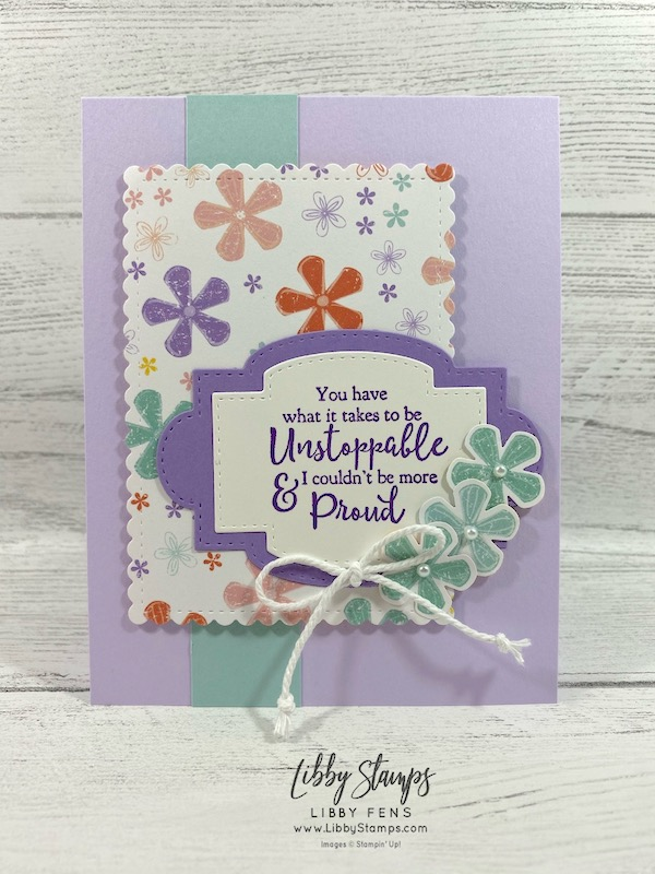 libbystamps, Stampin' Up!, Strong & Beautiful, Stitched So Sweetly Dies, Pleased As Punch DSP, Small Bloom Punch, CCMC, Sale-a-bration