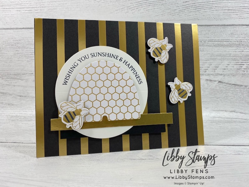 libbystamps, Stampin' Up, Honey Bee, Detailed Bees Dies, Honey Bee Bundle, Golden Honey DSP, Basic Black Dark Stampin' Blends, #CCMC